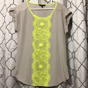 Express XS lace detail top short sleeved